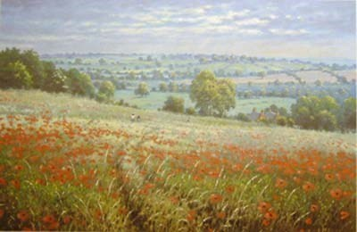 Among the Poppies by James Preston -  sized 14x9 inches. Available from Whitewall Galleries